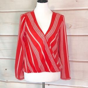 Cupcakes & Cashmere Red Striped Crossover Blouse